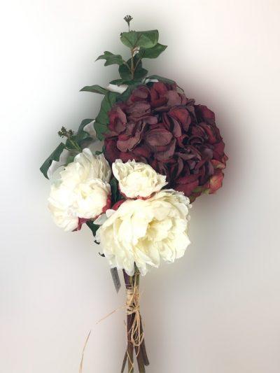 Arreglo con hortensia roja artificial 1